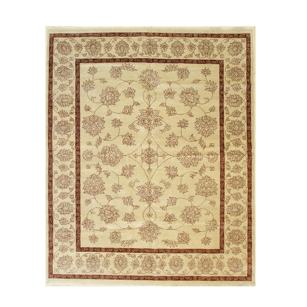 Ivory Hand-knotted Wool Traditional Agra Rug - 8' 1 x 10'