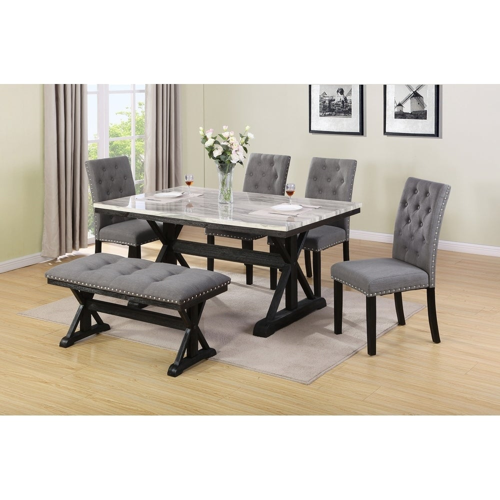 Best Quality Furniture Faux Marble Table Top 6 Piece Dining Set W Bench