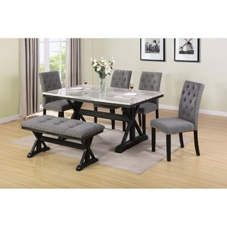 Best Quality Furniture Faux Marble Table Top 6-Piece Dining Set w/ Bench