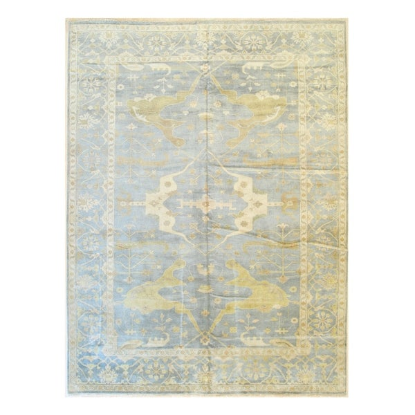 Powder blue/gold Hand-knotted Wool Traditional OUSHAK Rug - 10' 3 x 13'10