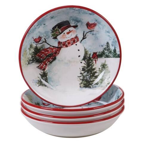 Certified International Watercolor Snowman Soup/Pasta Bowls, Set of 4