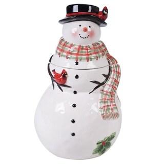 Certified International Watercolor Snowman 3-D Cookie Jar