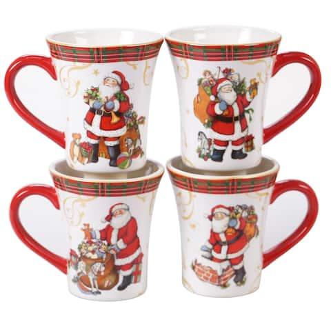 Certified International Vintage Santa 14-ounce Mugs, Set of 4