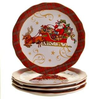 Certified International Vintage Santa 11-inch Dinner Plates, Set of 4