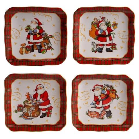 Certified International Vintage Santa 6-inch Canape Plates, Set of 4