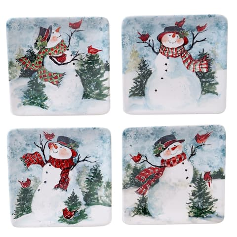 Certified International Watercolor Snowman Canape Plates, Set of 4