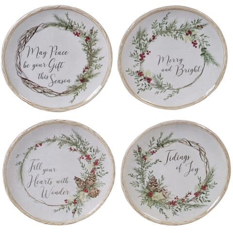 Certified International Holly and Ivy 6-inch Canape Plates, Set of 4
