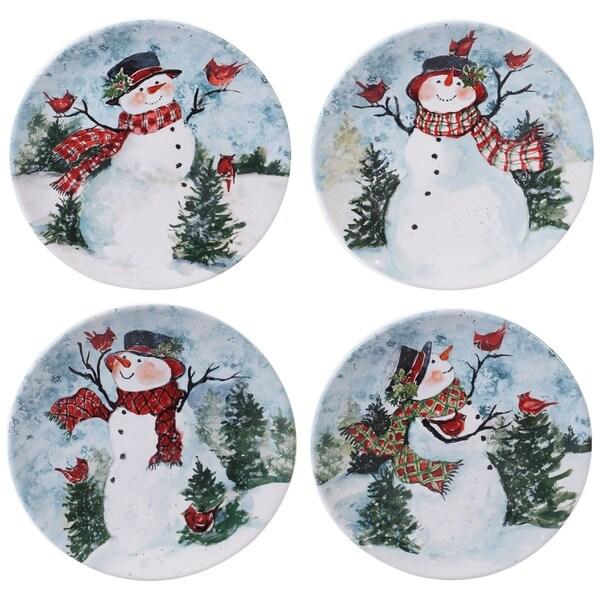 Certified International Watercolor Snowman Dinner Plates, Set of 4