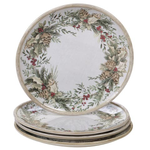 Certified International Holly and Ivy 11-inch Dinner Plates, Set of 4