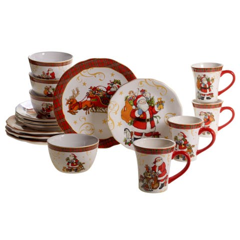 Certified International Vintage Santa 16-piece Dinnerware Set
