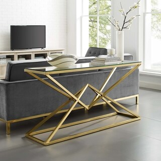 Strick & Bolton Eliana Gold Metal/ Tempered Glass Console Table
