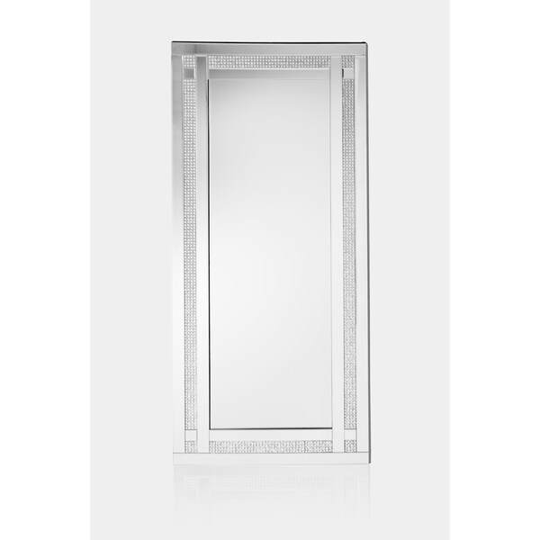 Best Quality Furniture Floor Mirror w/ Faux Diamond Taupes - Silver