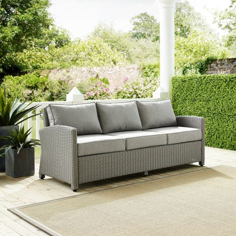 Cambridge Bay Grey Wicker Sofa by Havenside Home