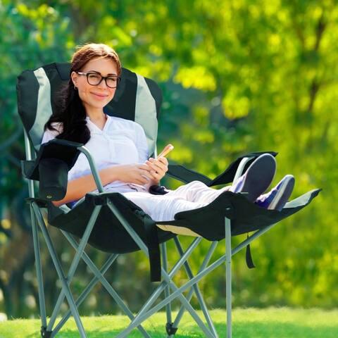 GigaTent Outdoor Camping Chair - Lightweight, Portable Folding Design - Adjustable Footrest, Cup Holder, Storage Carrying Bag