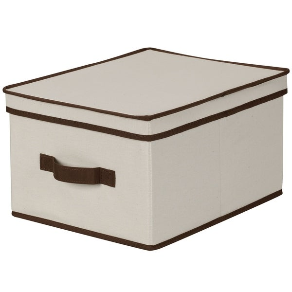 Household Essentials Storage Box with Lid - Natural Beige Canvas w/Brown Trim - Large