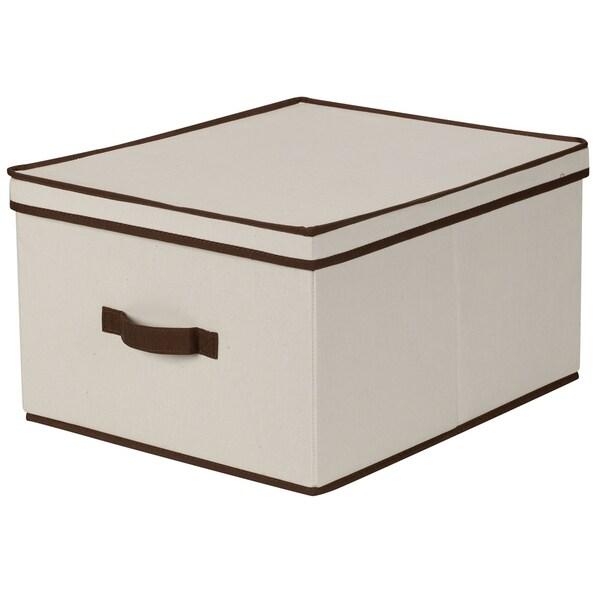 Household Essentials Storage Box w/Lid - Natural Beige Canvas w/Brown Trim- Jumbo