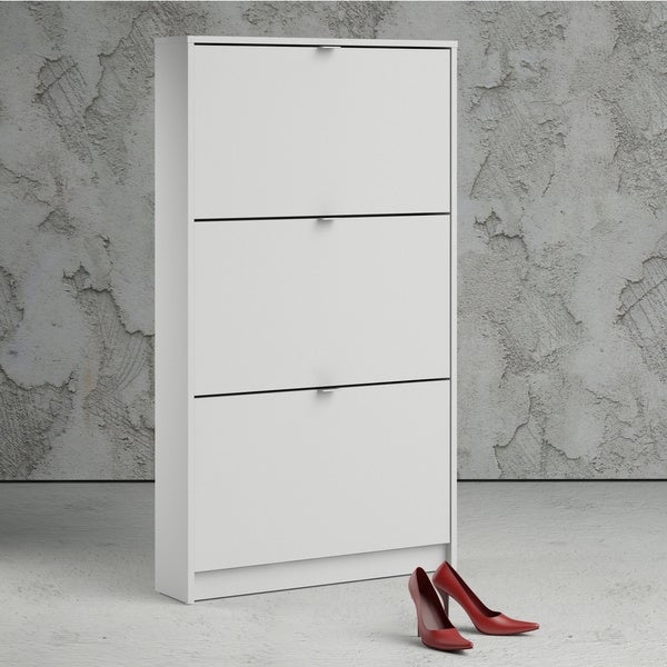 Porch & Den Cambria White 3-drawer Shoe Cabinet