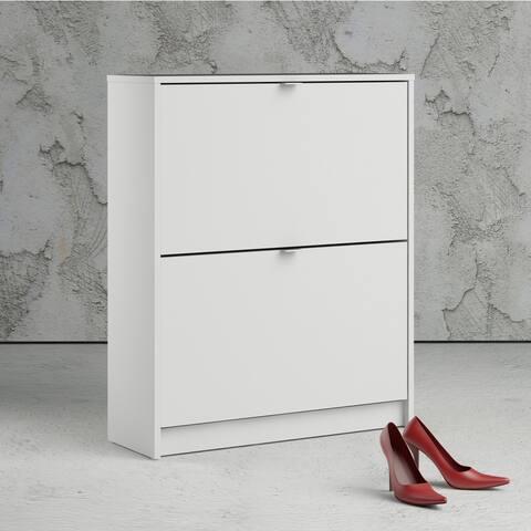 Porch & Den Cambria White 2-drawer Shoe Cabinet