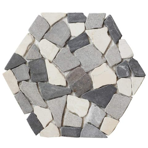 "Honey B2-Hexagon Shape Pebble Tile 9.84""x9.84"" (12-Sheets)"