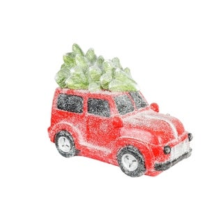 Alpine Corporation Retro Red Car with Christmas Tree With Lights