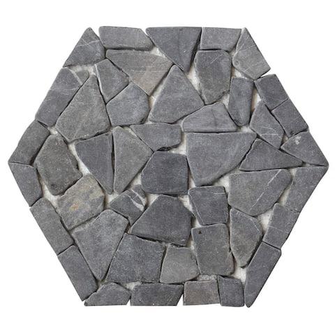 Interlocking Hexagon Shape Pebble Mesh Tiles (12-Pack)-Kitchen, Bathroom, and Patio Flooring - Indoor and Outdoor