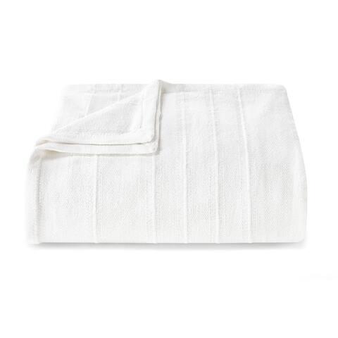 Vera Wang Stripe White Cotton Blanket