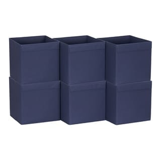 Household Essentials Lip Pull Collapsible Fabric Cube, Navy, Set of 6