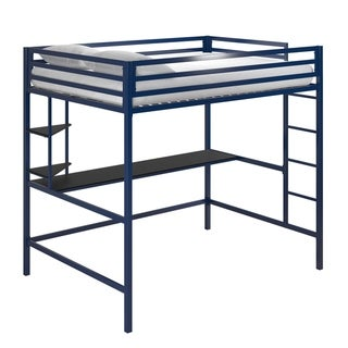 Novogratz Maxwell Metal Loft Bed with Desk & Shelves
