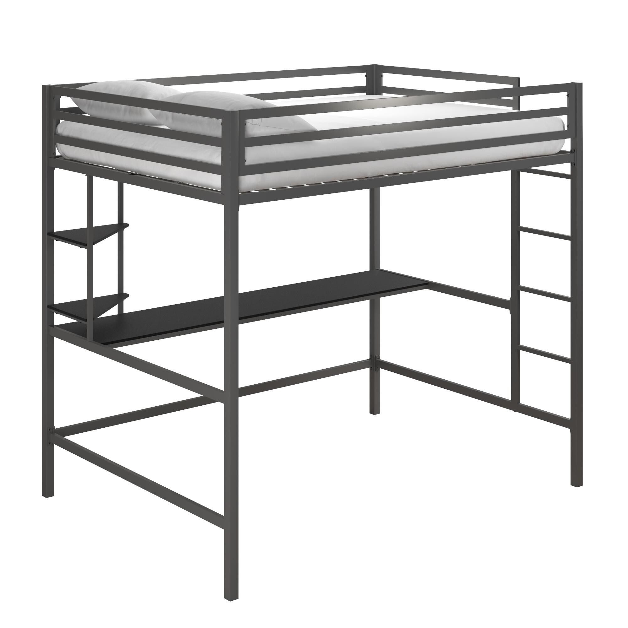 Novogratz Maxwell Metal Loft Bed With Desk Shelves On Sale Overstock 28640685