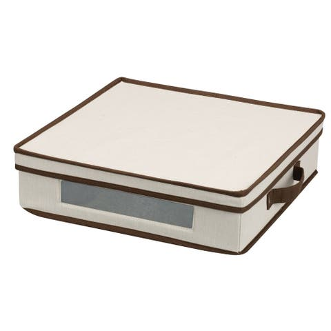 Household Essentials Vision Storage Box w/Lid and Handles for Charger Plates and Platters, Natural Canvas /Brown Trim