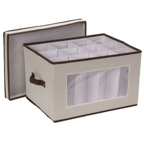 Household Essentials 540 Vision Storage Box w/Lid and Handles for Cocktail Glasses, Natural Beige Canvas w/Brown Trim