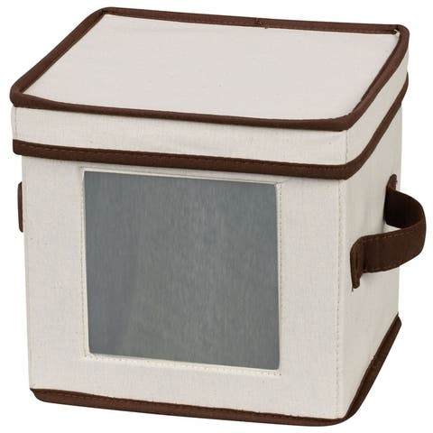 Household Essentials Dinnerware Storage Box with Lid and Handles for Salad Plates, Natural Canvas w/Brown Trim
