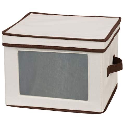 Household Essentials Dinnerware Storage Box with Lid and Handles for Dinner Plates, Natural Canvas w/Brown Trim