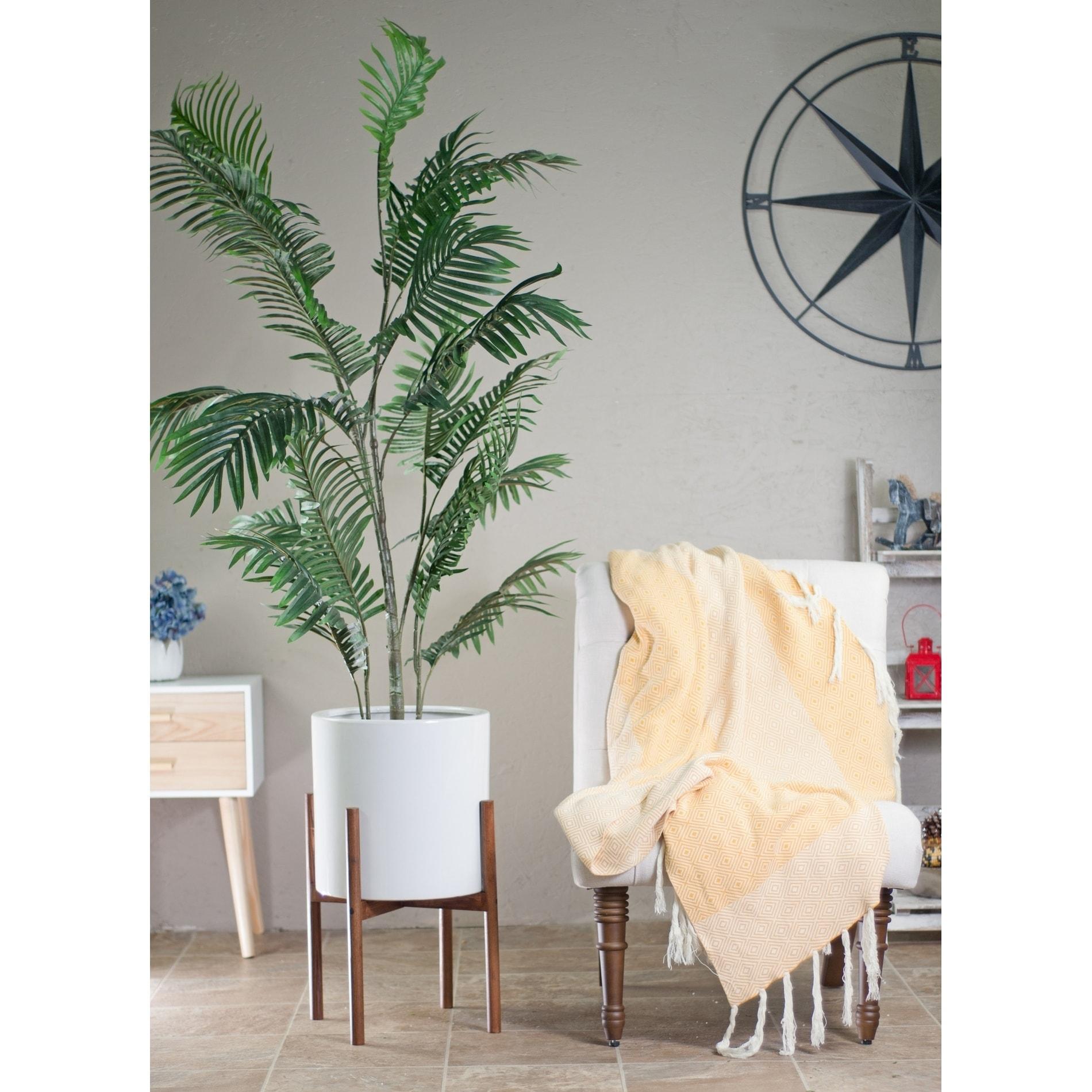 Mid Century Modern Large Ceramic Planter White With Wood Stand 13 Honey