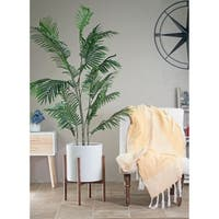 Mid-Century Modern Large Ceramic Planter White With Wood Stand 13″ Honey