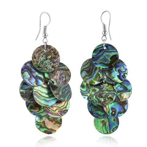 Handmade Enchanting Grape Cluster of Abalone Circles Handcrafted Dangle Earrings (Thailand)