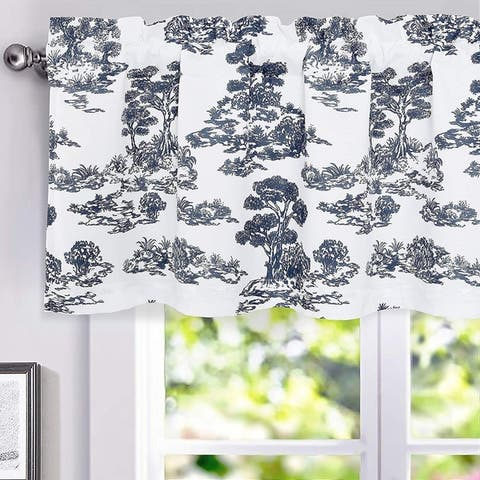 DriftAway Lola Toile Sketch Forest Tree Botanical Lined Thermal Insulated Energy Saving Window Curtain Valance - 52 x 18