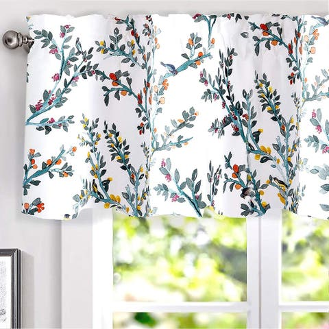 DriftAway Jasmine Watercolor Flower/Floral/Branch Botanical Lined Thermal Insulated Energy Saving Window Curtain Valance