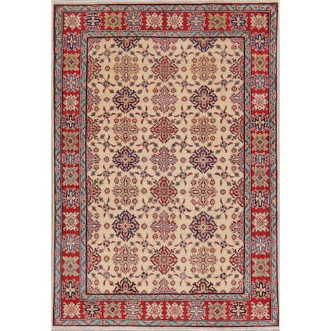 "Hand-Knotted Traditional Kazak Oriental Wool Pakistani Area Rug - 7'7"" x 5'4"""