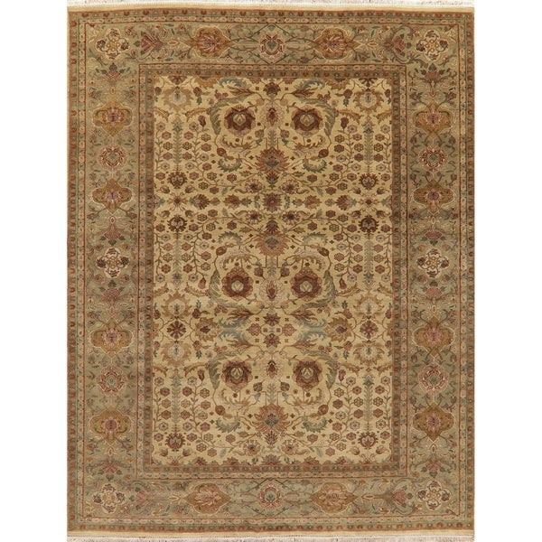 """Traditional Agra Oriental Hand-Knotted Wool Indian Area Rug - 12'0"""" x 9'3"""""""
