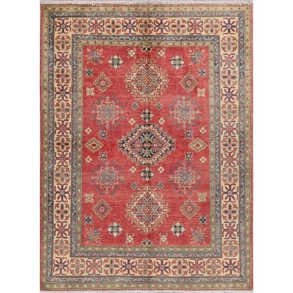 "Pakistani Kazak Traditional Oriental Hand-Knotted Wool Area Rug - 6'7"" x 4'11"""