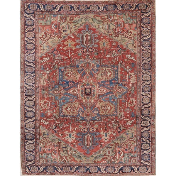 """Antique Heriz Oriental Traditional Hand-Knotted Wool Persian Area Rug - 11'9"""" x 9'1"""""""