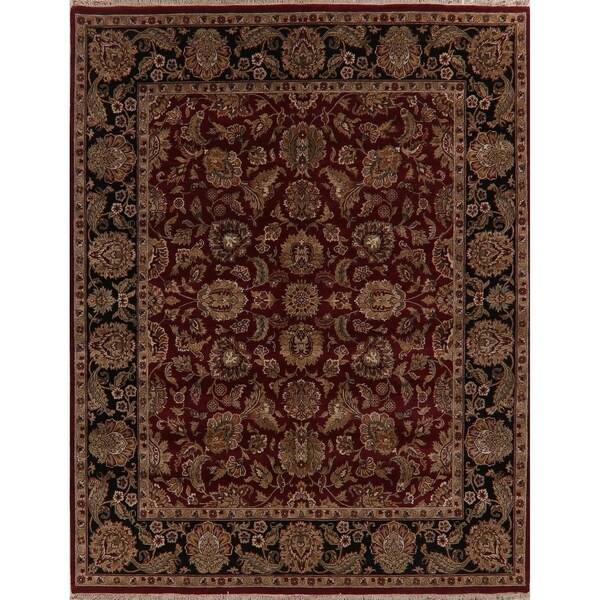 """Agra Oriental Hand Knotted Traditional Wool Indian Area Rug - 9'10"""" x 7'11"""""""