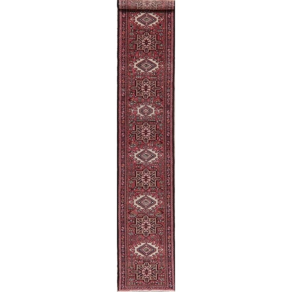"""Traditional Gharajeh Oriental Vintage Hand-Knotted Wool Persian Rug - 12'11"""" x 2'0"""" Runner"""