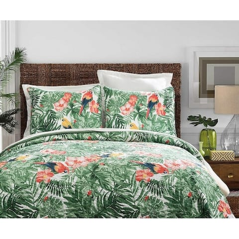 3 Piece Vintage Tropical Parrot Quilt Set