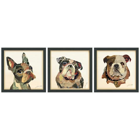 Bulldogs Close Up Dimensional Collage Wall Art Framed Under Glass