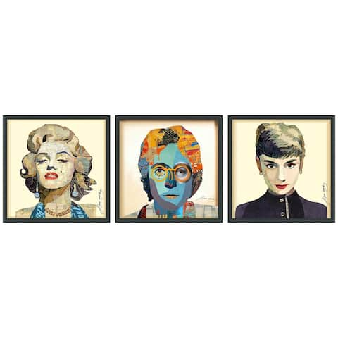 """Marilyn, Audrey & John"" Dimensional Collage Wall Art Framed Under Glass"