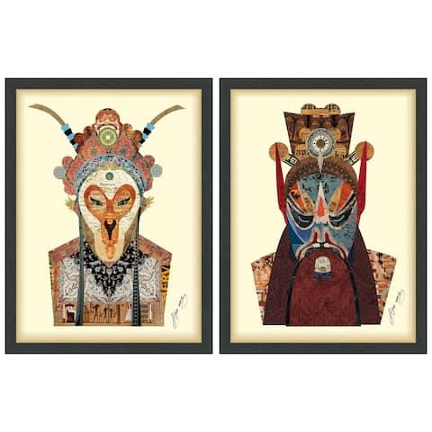 """Beijin Opera Mask & Jiangwei"" Dimensional Collage Wall Art Framed Under Glass"