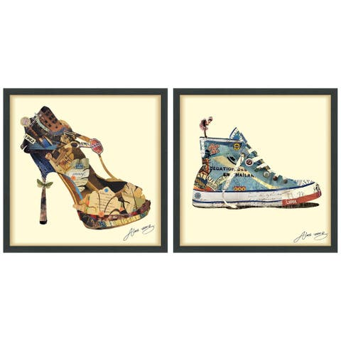 """High Heeled & Top Sneaker"" Dimensional Collage Wall Art Framed Under Glass"