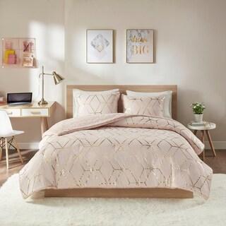 Intelligent Design Addie Blush Metallic Print Reversible Comforter Set